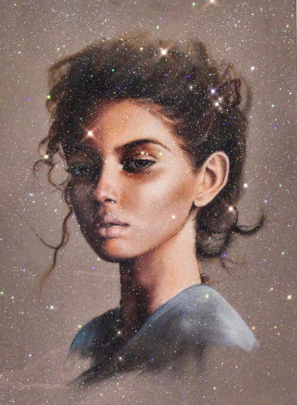 Pensive resin embellished print
